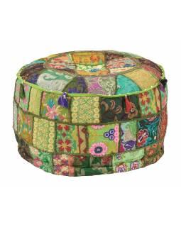 Taburet, Rajasthan, patchwork, Ari bohatá výšivka, zelený podklad, 56x56x32cm