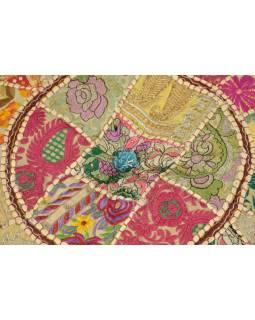 Taburet, Rajasthan, patchwork, Ari bohatá výšivka, béžový podklad, 54x54x31cm