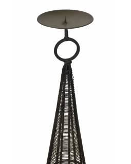 Kovový svícen, černý, 16x16x97cm