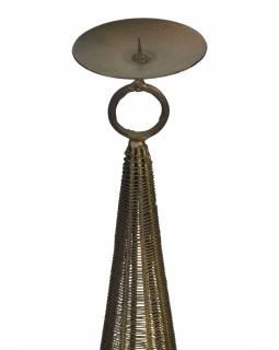 Kovový svícen, černo zlatá patina, 16x16x97cm