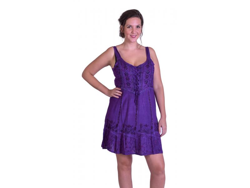 Krátké šaty na ramínka, výšivka, fialové