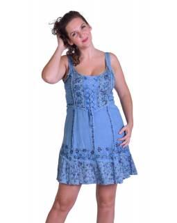 Krátké šaty na ramínka, výšivka, modré