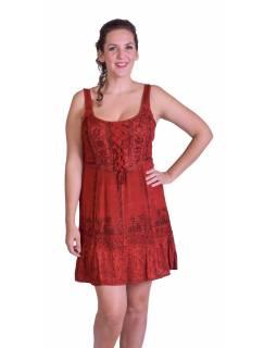 Krátké šaty na ramínka, výšivka, červené