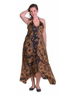 Dlouhé šaty, recyklované sárí, hnědé s černým potiskem, na ramínka