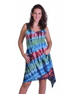 Dlouhé šaty, barevné, na široká ramínka, batika, kapsa