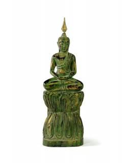 Narozeninový Buddha, čtvrtek, teak, zelená patina, 26cm