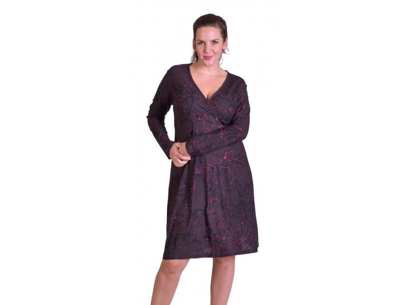 Šaty s dlouhým rukávem, zavinovací na prsou, tmavě šedé s růžovým potiskem