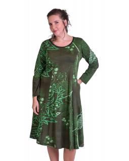 Delší šaty s dlouhým rukávem, dvě kapsy, zelené s potiskem