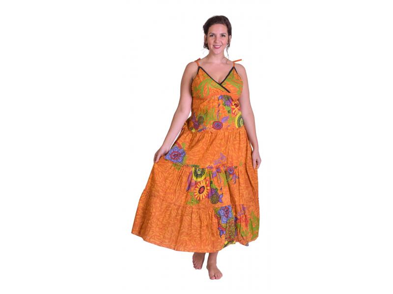 """Dlouhé oranžové šaty """"Flower design"""", zavazování za krk"""