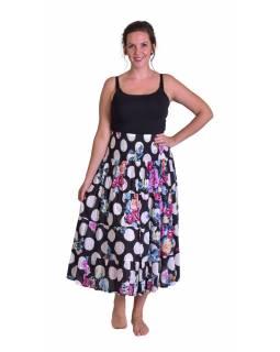 """Dlouhá černá sukně s potiskem """"Dots & Flower design"""", žabičkování"""