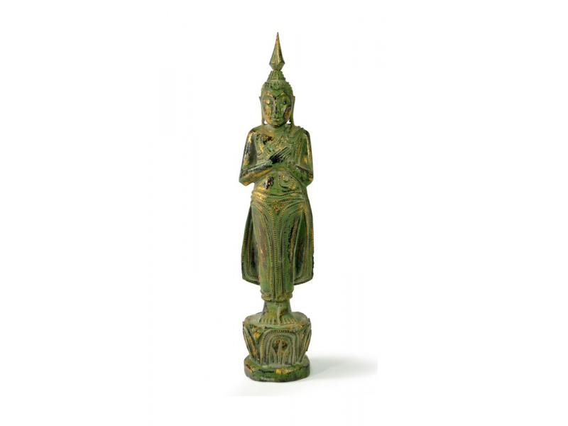 Narozeninový Buddha, pátek, teak, zelená patina, 26cm