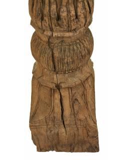 Starý, ručně vyřezávaný sloup z teakového dřeva, 25x25x154cm