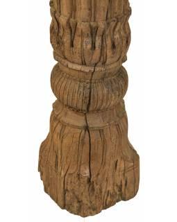 Starý, ručně vyřezávaný sloup z teakového dřeva, 25x25x157cm