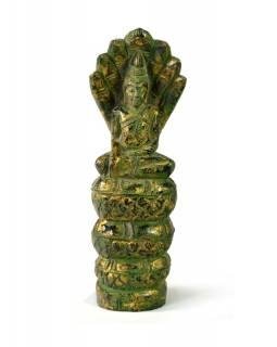 Narozeninový Buddha, sobota, teak, zelená patina, 26cm