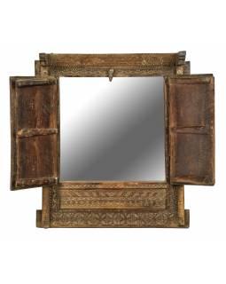 Staré teakové okno se zrcadlem, 52x15x63cm