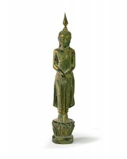 Narozeninový Buddha, neděle, teak, zelená patina, 26cm