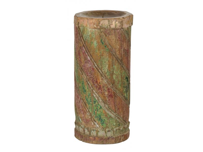 Dřevěný svícen ze starého teakového sloupu, 17x17x39cm