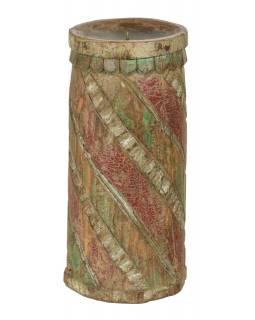 Dřevěný svícen ze starého teakového sloupu, 18x18x38cm