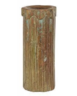 Dřevěný svícen ze starého teakového sloupu, 19x19x48cm