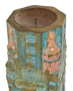 Dřevěný svícen ze starého teakového sloupu, 16x16x47cm