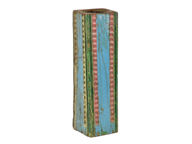 Dřevěný svícen ze starého teakového sloupu, 19x19x65cm