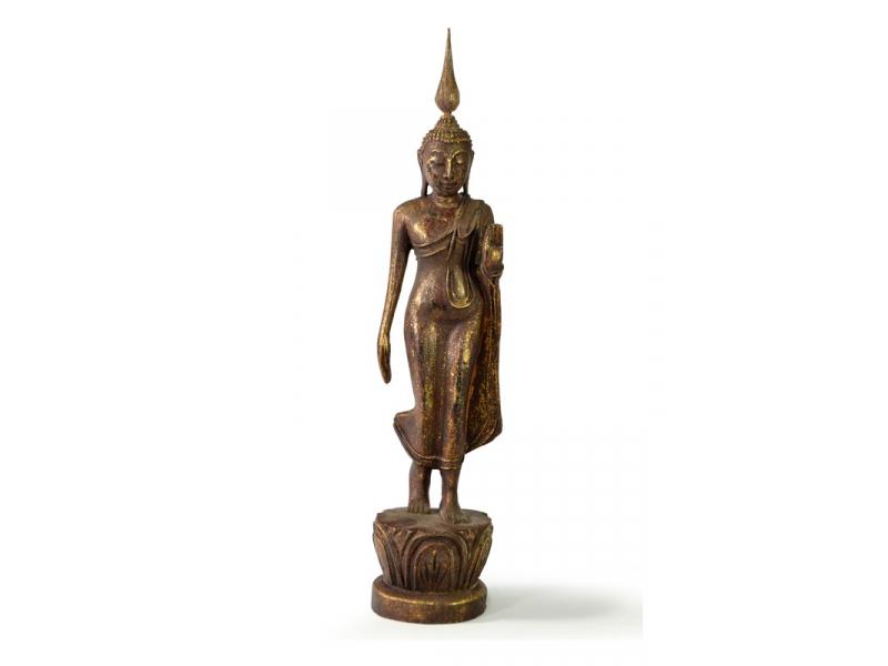 Narozeninový Buddha, pondělí, teak, hnědá patina, 35cm
