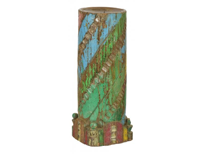 Dřevěný svícen ze starého teakového sloupu, 18x18x48cm