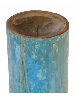 Dřevěný svícen ze starého teakového sloupu, 17x17x48cm