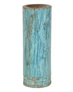 Dřevěný svícen ze starého teakového sloupu, 16x16x44cm