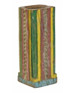 Dřevěný svícen ze starého teakového sloupu, 17x17x49cm