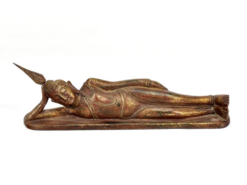 Narozeninový Buddha, úterý, teak, hnědá patina, 35cm