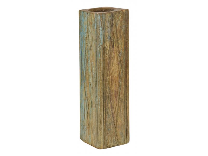 Dřevěný svícen ze starého teakového sloupu, 19x19x69cm