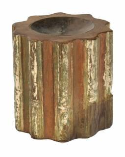 Dřevěný svícen ze starého teakového sloupu, 20x20x20cm