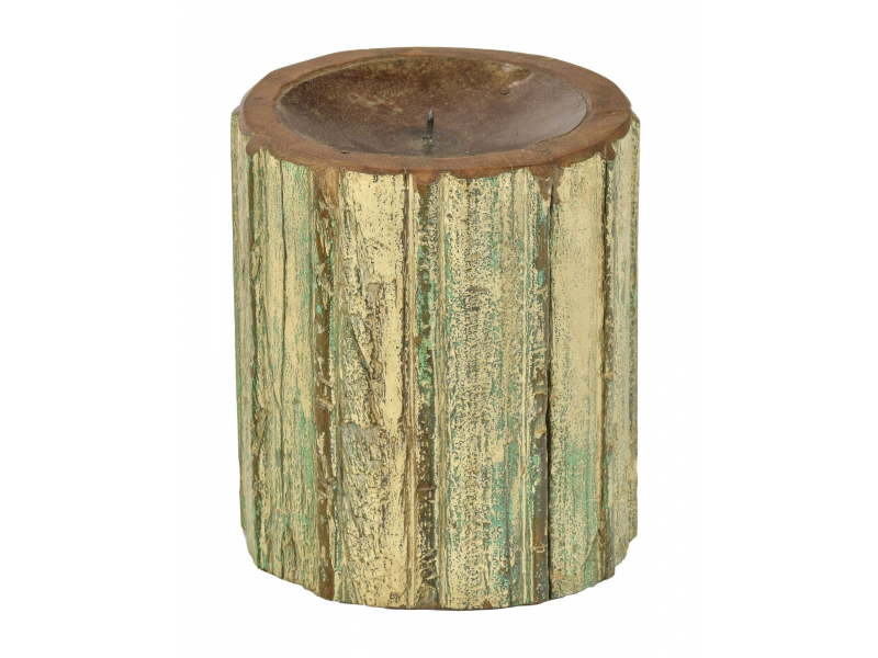 Dřevěný svícen ze starého teakového sloupu, 16x16x19cm