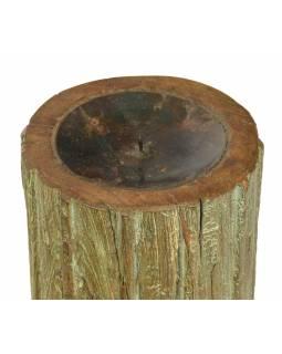 Dřevěný svícen ze starého teakového sloupu, 17x17x22cm