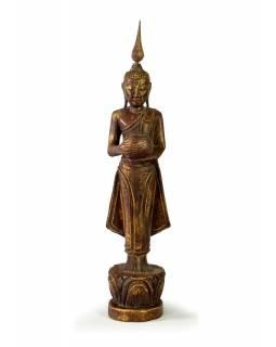 Narozeninový Buddha, středa, teak, hnědá patina, 35cm