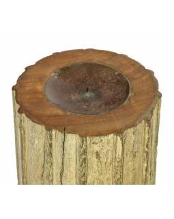 Dřevěný svícen ze starého teakového sloupu, 17x17x19cm
