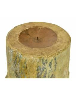 Dřevěný svícen ze starého teakového sloupu, 17x17x25cm