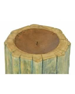 Dřevěný svícen ze starého teakového sloupu, 18x18x22cm