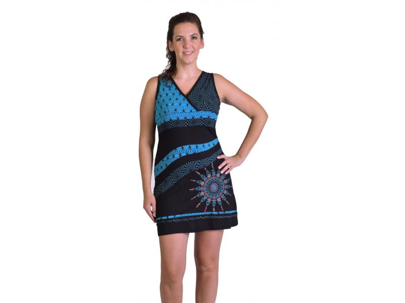 Krátké šaty bez rukávů, černé s tyrkysovým potiskem a Mandalou