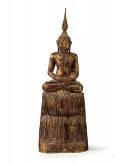 Narozeninový Buddha, čtvrtek, teak, hnědá patina, 35cm
