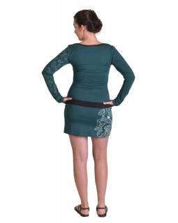 Krátké šaty, dlouhý rukáv, smaragdově zelené, potisk a výšivka listů, biobavlna