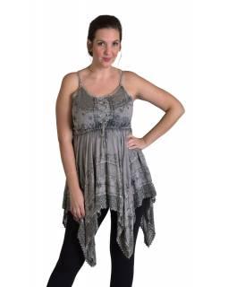 Krátké šedé šaty na ramínka, výšivka a ruční háčkování