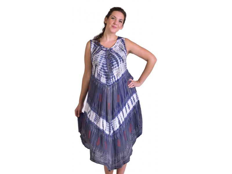 Krátké bílo-fialové šaty bez rukávu, potisk