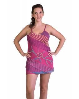 Krátké růžové šaty na ramínka, aplikace a barevná výšivka