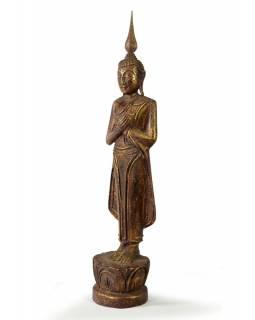 Narozeninový Buddha, pátek, teak, hnědá patina, 35cm