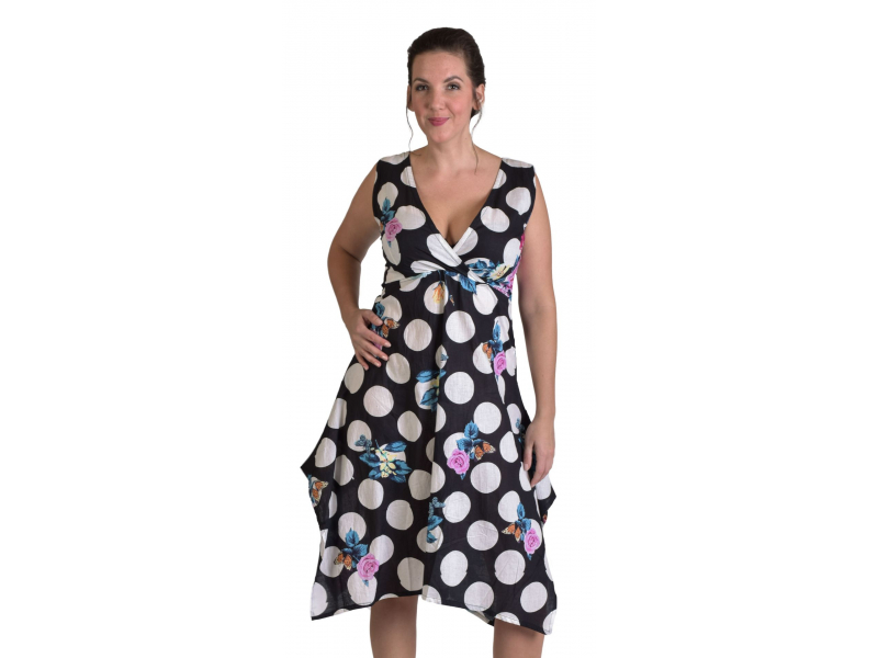 """Tříčtvrteční černé šaty s potiskem, na ramínka, """"Dots & Flower"""" print"""