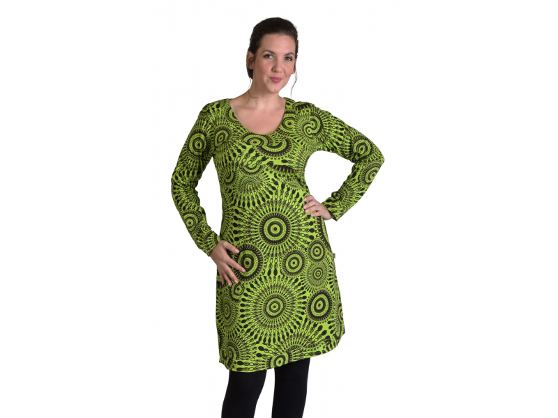 Krátké šaty s dlouhým rukávem, zelené, potisk Mandal