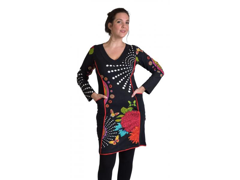 Krátké šaty s dlouhým rukávem, černé,  Mandala potisk, kapsy