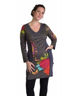 Krátké šaty s dlouhým rukávem, šedé, Mandala potisk, kapsy